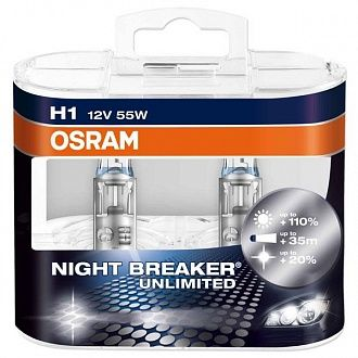 Автолампа Osram Night Breaker Unlimited H1 55 Вт 2 шт